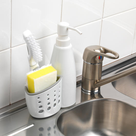 Large Dish Drainer, Kitchen Basket with Soap Dispenser and Over Sink Basket, White/Grey Thumbnail 7