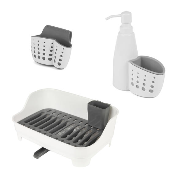 Large Dish Drainer, Kitchen Basket with Soap Dispenser and Tap Attachable Kitchen Basket, White/Grey