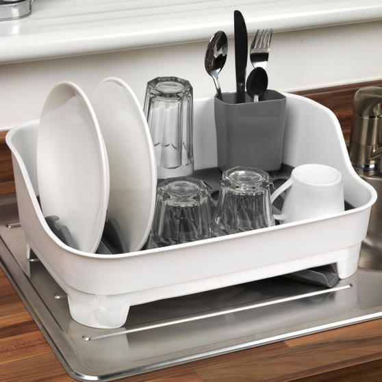 Large Dish Drainer, Kitchen Basket with Soap Dispenser and Tap Attachable Kitchen Basket, White/Grey Thumbnail 4