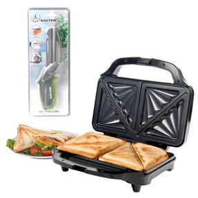 Salter COMBO-4942 Electric XL Deep Fill Sandwich Toaster Press with 3 in 1 Prep Cutter, 900 W Thumbnail 1