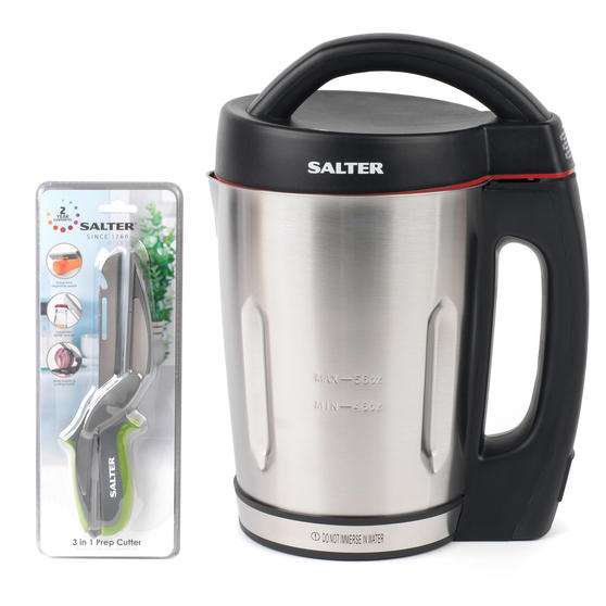 Salter COMBO-4943 Electric Soup Maker with 3 in 1 Prep Cutter, 1.6 Litre, 1000 W