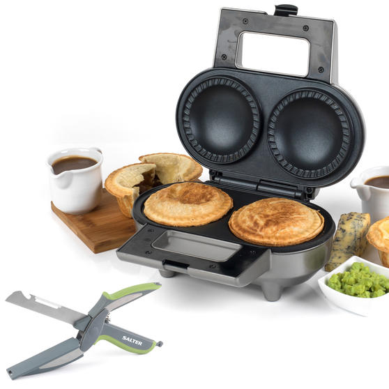 Salter COMBO-4944 Deep Fill Double Non-Stick Electric Pie Maker with 3 in 1 Prep Cutter, 1000 W