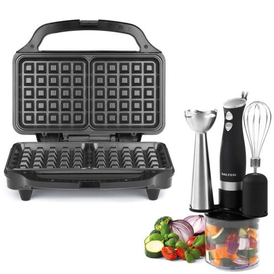 Salter COMBO-4945 Deep Fill Waffle Maker with 3 in 1 Chopper, Whisk and Blender Set, 900 W/350 W