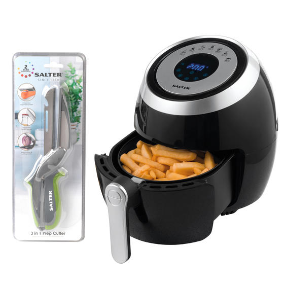 Salter COMBO-4949 XL Digital Hot Air Fryer with 3 in 1 Prep Cutter, 1500 W, 4.5 L
