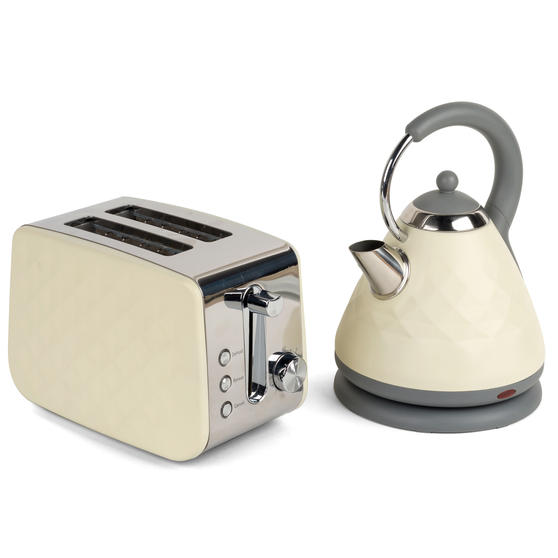 Salter COMBO-3842 Diamond 1.7 Litre Pyramid Kettle with Two Slice Toaster, 3000 W/850 W, Cream