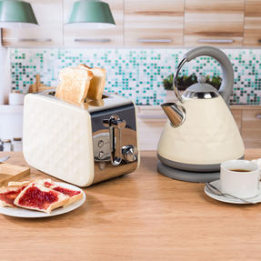 Salter COMBO-3842 Diamond 1.7 Litre Pyramid Kettle with Two Slice Toaster, 3000 W/850 W, Cream Thumbnail 2