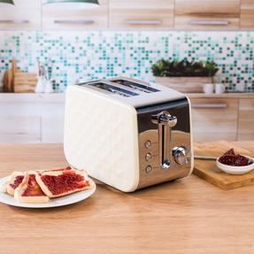 Salter COMBO-3842 Diamond 1.7 Litre Pyramid Kettle with Two Slice Toaster, 3000 W/850 W, Cream Thumbnail 4