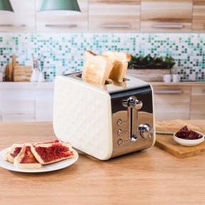 Salter COMBO-3842 Diamond 1.7 Litre Pyramid Kettle with Two Slice Toaster, 3000 W/850 W, Cream Thumbnail 9
