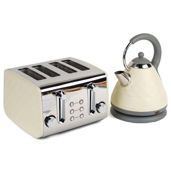 Salter COMBO-3843 Diamond 4-Slice Toaster & 1.8 L Pyramid Kettle, Cream
