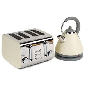 Salter COMBO-3843 Diamond 4-Slice Toaster & 1.8 L Pyramid Kettle, Cream Thumbnail 1