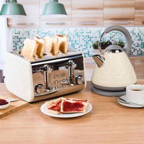 Salter COMBO-3843 Diamond 4-Slice Toaster & 1.8 L Pyramid Kettle, Cream Thumbnail 2
