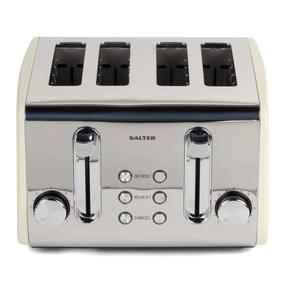 Salter COMBO-3843 Diamond 4-Slice Toaster & 1.8 L Pyramid Kettle, Cream Thumbnail 5