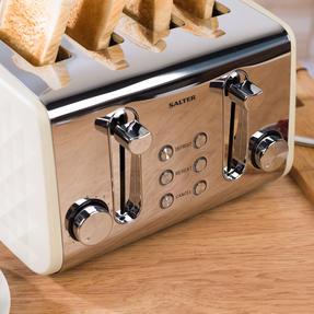 Salter COMBO-3843 Diamond 4-Slice Toaster & 1.8 L Pyramid Kettle, Cream Thumbnail 6