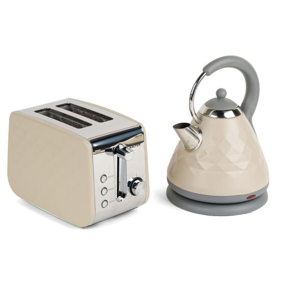 Salter COMBO-3844 Diamond 2-Slice Toaster & 1.8 L Pyramid Kettle, Grey