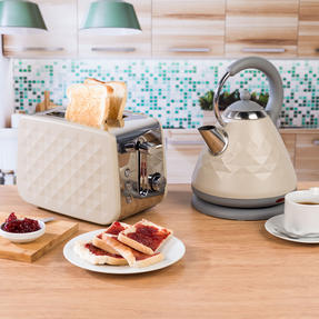 Salter COMBO-3844 Diamond 2-Slice Toaster & 1.8 L Pyramid Kettle, Grey Thumbnail 2