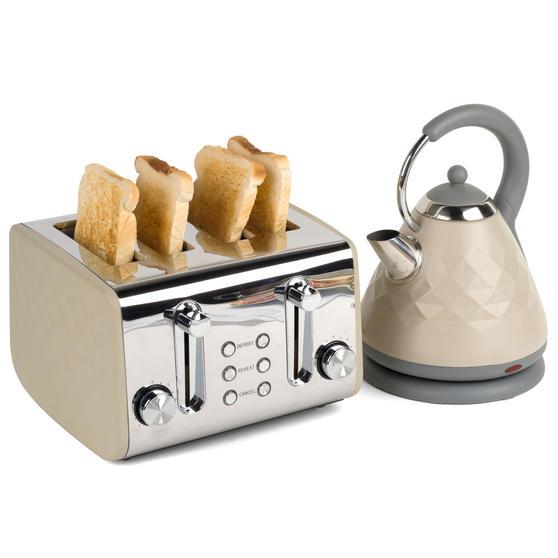 Salter COMBO-3845 Diamond 4-Slice Toaster & 1.8 L Pyramid Kettle, Grey