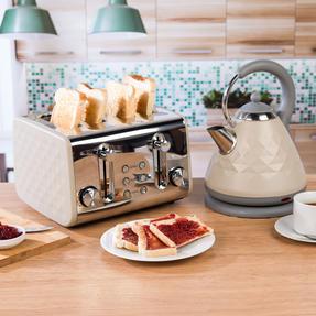 Salter COMBO-3845 Diamond 4-Slice Toaster & 1.8 L Pyramid Kettle, Grey Thumbnail 2