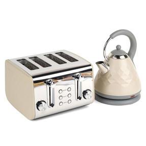 Salter COMBO-3845 Naturals 4-Slice Toaster & 1.8 L Pyramid Kettle, Stone Thumbnail 3