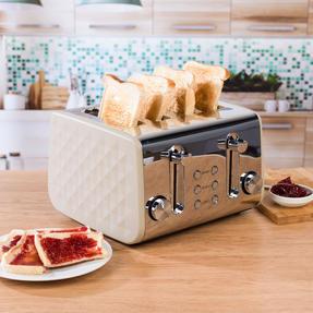 Salter COMBO-3845 Naturals 4-Slice Toaster & 1.8 L Pyramid Kettle, Stone Thumbnail 5