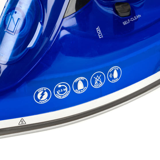 Beldray 2200W Steam Iron with 320 ml water tank, Blue Thumbnail 5