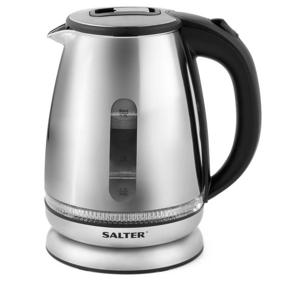 Salter Mirror Finish Glass Kettle with LED Illumination, 1.7 L, 2200 W