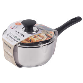 Salter BW07227AS Simple Strain Saucepan With Glass Lid, 18 cm, Stainless Steel, 5 Year Guarantee Thumbnail 2
