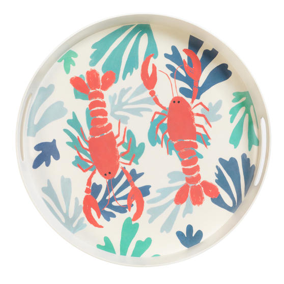 Cambridge CM06559TK Lobster Large Round Reusable Tray With Handles, 38 cm | Perfect for Serving Drinks at Parties
