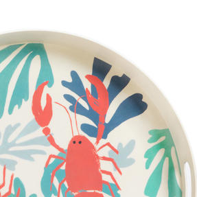 Cambridge CM06559TK Lobster Large Round Reusable Tray With Handles, 38 cm | Perfect for Serving Drinks at Parties Thumbnail 3