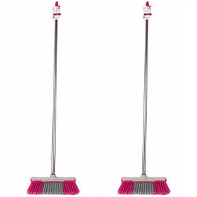 Kleeneze COMBO-5125 Soft-Bristle Broom, 1.2 m, Stainless Steel, Grey/Pink, Set of 2