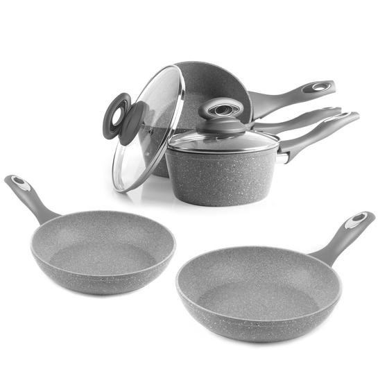 Salter COMBO-5122 Marblestone Collection Non-Stick Saucepan and Frying Pan Set, Grey, 5 Piece