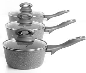 Salter COMBO-5122 Marblestone Collection Non-Stick Saucepan and Frying Pan Set, Grey, 5 Piece Thumbnail 3