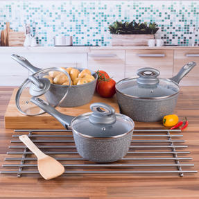 Salter COMBO-5122 Marblestone Collection Non-Stick Saucepan and Frying Pan Set, Grey, 5 Piece Thumbnail 4