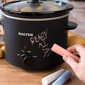Salter COMBO-5111 Chalkboard Slow Cooker with 3-in-1 Prep Multipurpose Kitchen Scissors and Three Pieces of Chalk Included, 3.5 L, Black Thumbnail 3