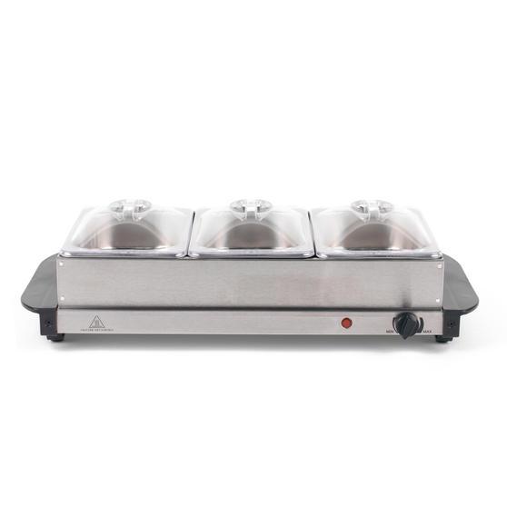 Progress EK3664P Portable Three Pan Food Warmer Buffet Server, 3 x 1.5 Litre Pans, Stainless Steel, 200 W