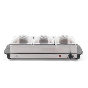 Progress Portable Three Pan Food Warmer Buffet Server, 3 x 1.5 Litre Pans, Stainless Steel, 200 W