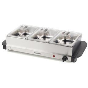 Progress EK3664P Portable Three Pan Food Warmer Buffet Server, 3 x 1.5 Litre Pans, Stainless Steel, 200 W Thumbnail 1