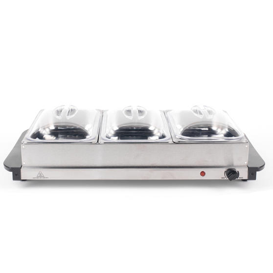 Progress Large Portable Three Pan Food Warmer Buffet Server, 3 x 2.5 Litre Pans, Stainless Steel, 300 W