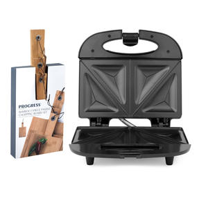 Progress COMBO-5202 2-Slice Non-Stick Sandwich Toaster with 3-Piece Bamboo Paddle Chopping Boards, 800 W