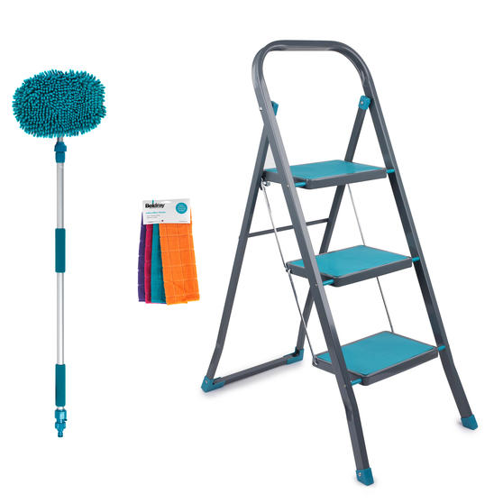 Beldray COMBO-5210 3-Step DIY Hobby Stepladder with Chenille Outdoor Cleaning Mop and Microfibre Cleaning Cloths