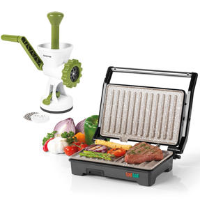 Salter COMBO-5213 Marble Collection 2-in-1 Fold-Out Health Grill with Additional Manual Meat Mincer, 750 W