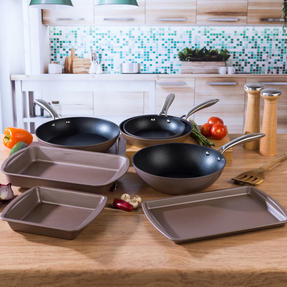 Salter Metallics Non-Stick Cookware and Ovenware Collection, 7 Piece, Champagne Thumbnail 4