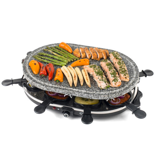 Giles & Posner 8-Piece Non-Stick Stone Raclette Grill, 1200 W