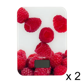 Beurer COMBO-5251 Glass Kitchen Scale, Metric/Imperial, Berry Design, Set of 2