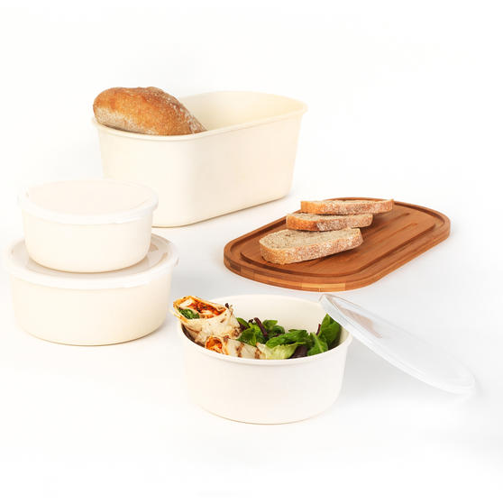 Salter Earth COMBO-4780 Lightweight Bamboo Fibre Kitchen Storage Set with Bread Bin, 4 Piece, Natural