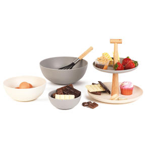 Salter Earth COMBO-4787 Lightweight Bamboo Fibre Serving Set with Two-Tier Cupcake Stand and Round Bowls, 4 Piece