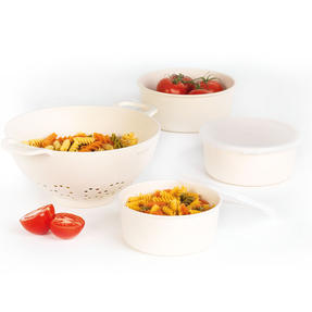 Salter COMBO-4788 Earth Lightweight Reusable Kitchen Container Set with Straining Colander, 2 Piece, Natural