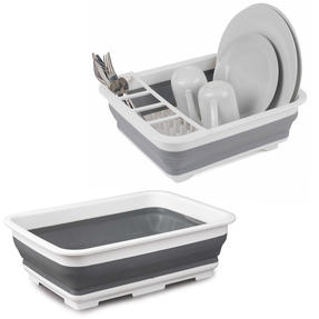 Beldray COMBO-5327 Collapsible Dish Draining Board and Rectangular Washing Up Bowl ? Great for Caravans, Small Apartments and Students, Grey
