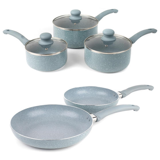 Russell Hobbs COMBO-5326 Stone Collection 5-Piece Frying Pan and Saucepan Set, 16/18/20/24 cm, Daybreak