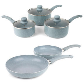 Russell Hobbs COMBO-5326 Stone Collection 5-Piece Frying Pan and Saucepan Set, 16/18/20/24 cm, Daybreak Thumbnail 1
