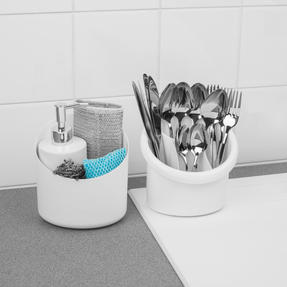 Beldray COMBO-5364 Plastic 2-in-1 Cutlery Drainer and Holder/Kids Desk Tidy, Pencil Pot, Storage Organiser, White, Set of 5 Thumbnail 4